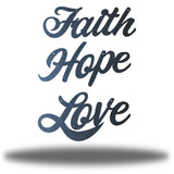 "Black wall decorations that says ""Faith,"" ""Hope"" and ""Love"""