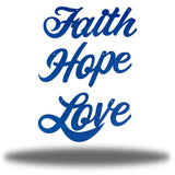 "Blue wall decorations that says ""Faith,"" ""Hope"" and ""Love"""