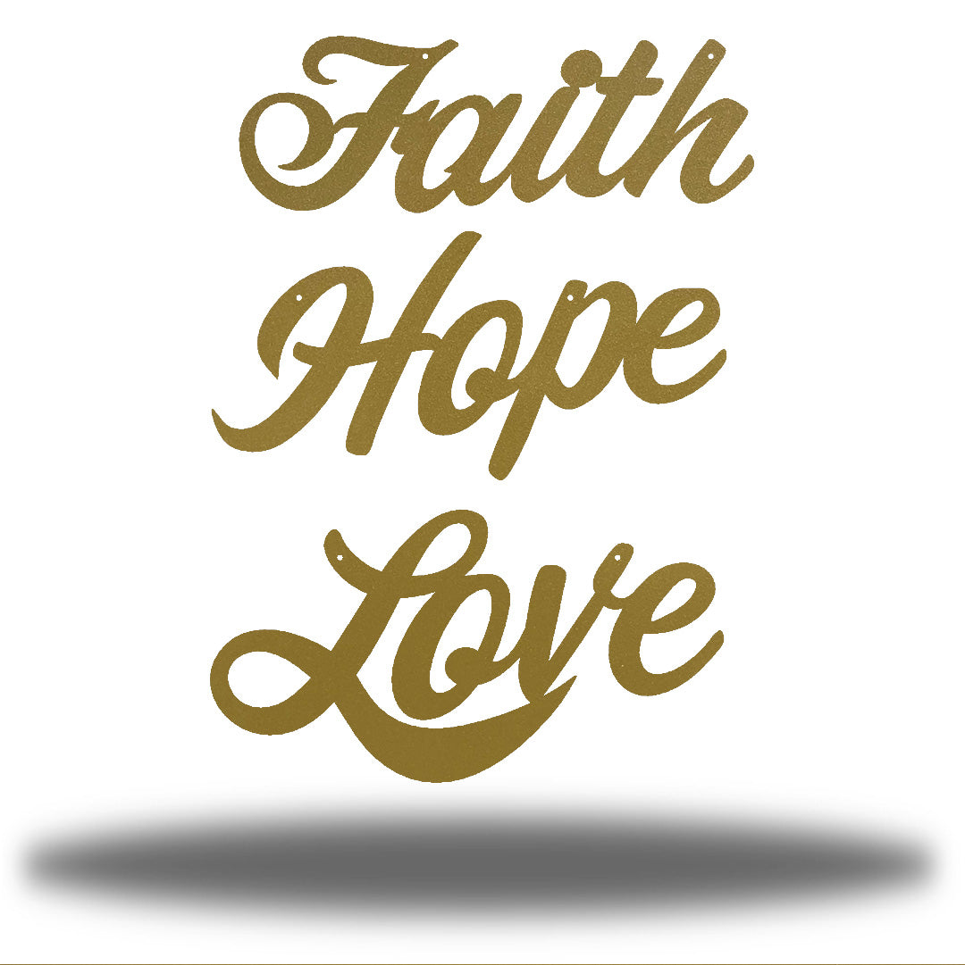 "Gold wall decorations that says ""Faith,"" ""Hope"" and ""Love"""