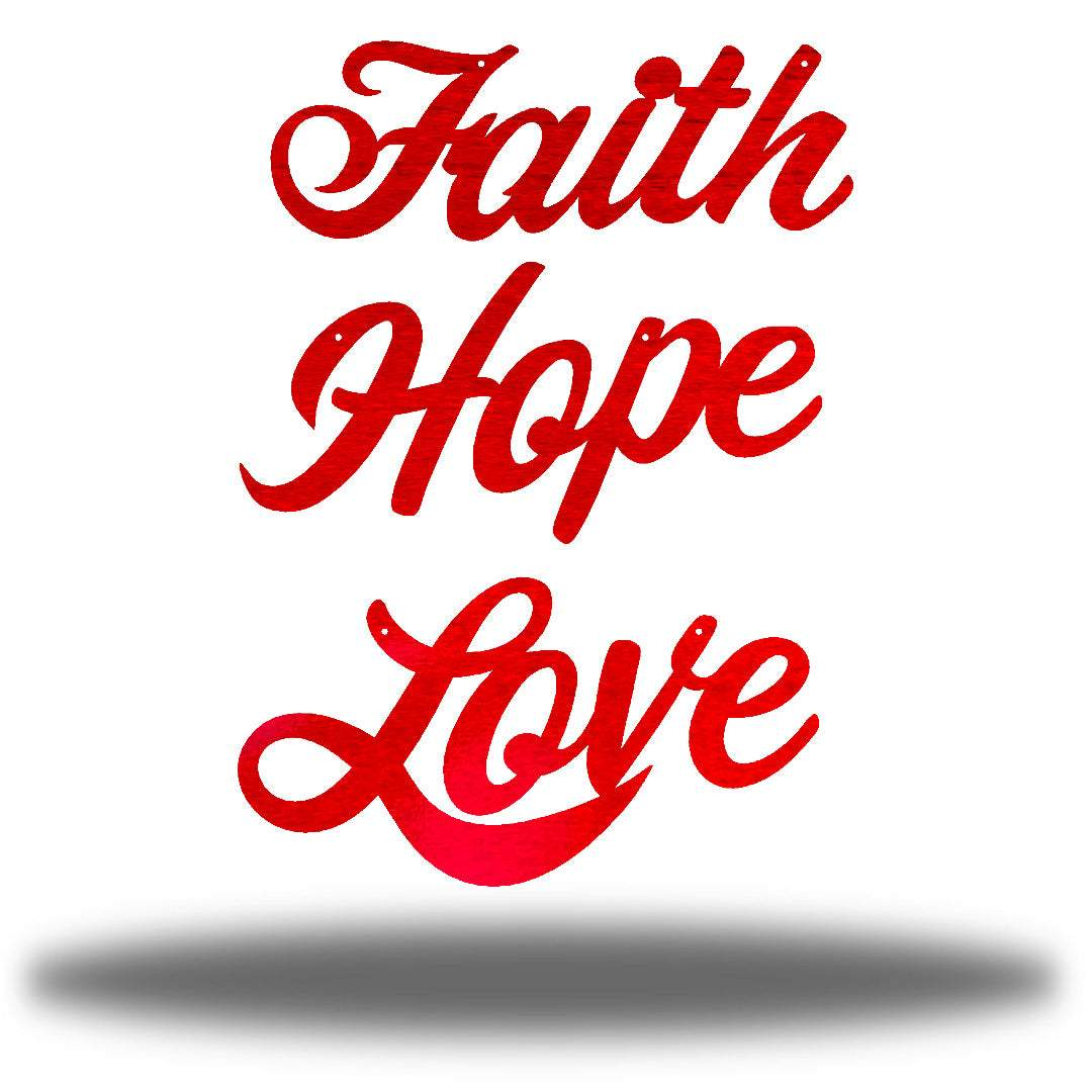 "Red wall decorations that says ""Faith,"" ""Hope"" and ""Love"""