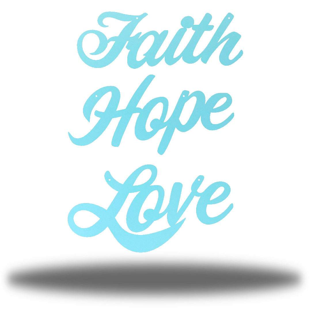 "Light blue wall decorations that says ""Faith,"" ""Hope"" and ""Love"""