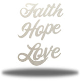 "Silver wall decorations that says ""Faith,"" ""Hope"" and ""Love"""