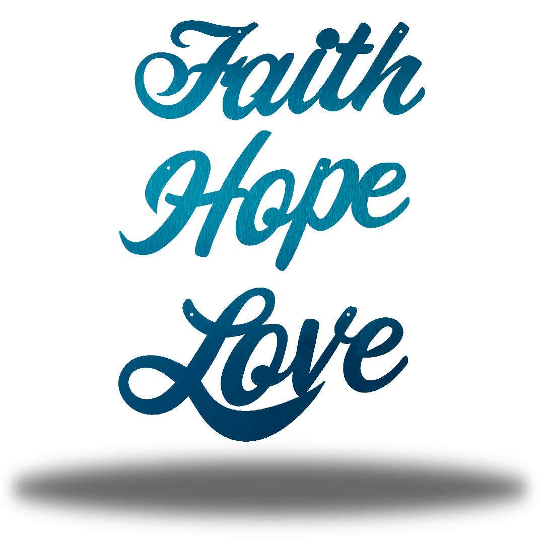 "Teal wall decorations that says ""Faith,"" ""Hope"" and ""Love"""