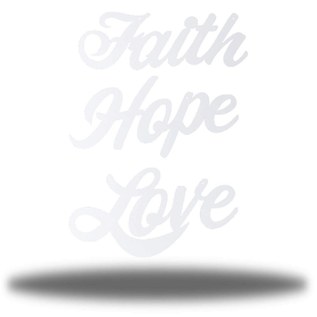 "White wall decorations that says ""Faith,"" ""Hope"" and ""Love"""