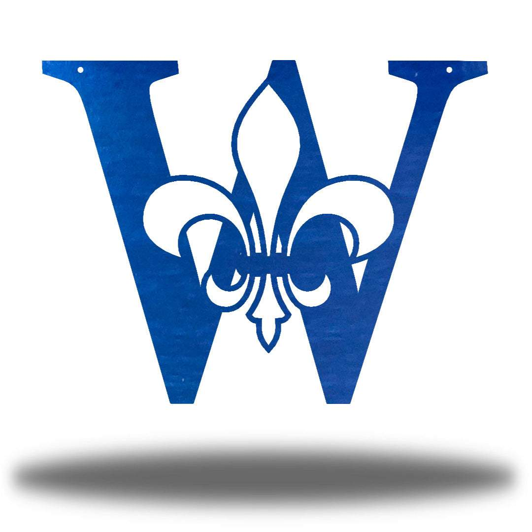 "Blue letter ""W"" wall decoration with a fleur de lis symbol in the middle"