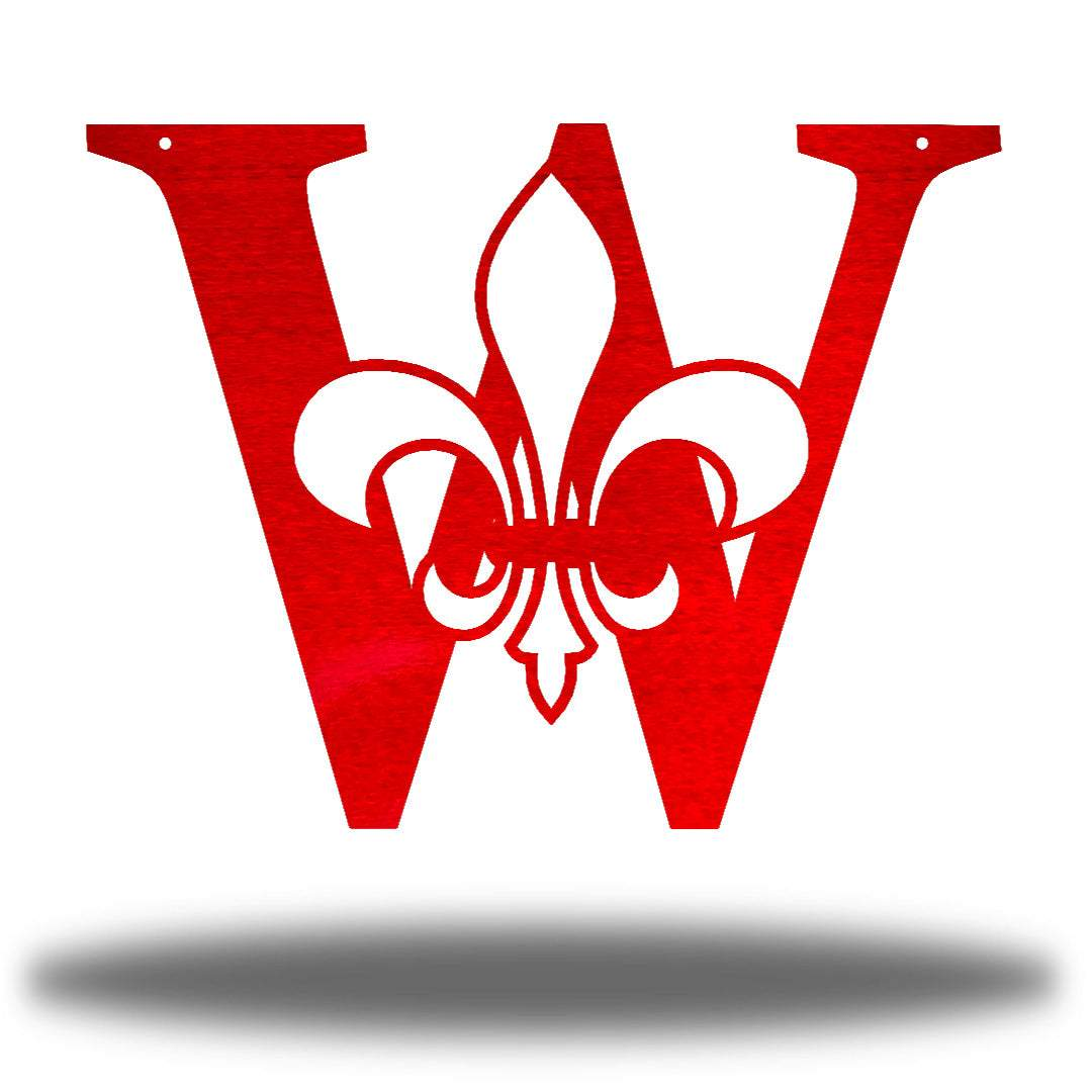 "Red letter ""W"" wall decoration with a fleur de lis symbol in the middle"