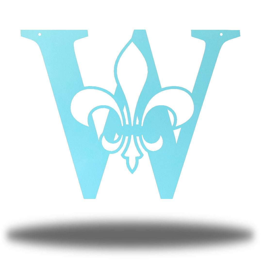 "Light blue letter ""W"" wall decoration with a fleur de lis symbol in the middle"