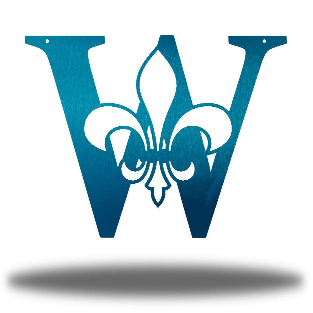 "Teal letter ""W"" wall decoration with a fleur de lis symbol in the middle"