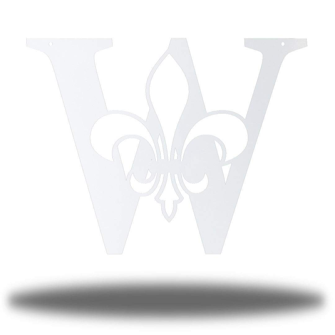 "White letter ""W"" wall decoration with a fleur de lis symbol in the middle"