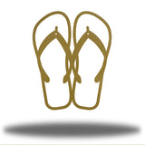 Gold steel flip flops-shaped wall decor