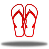 Red steel flip flops-shaped wall decor
