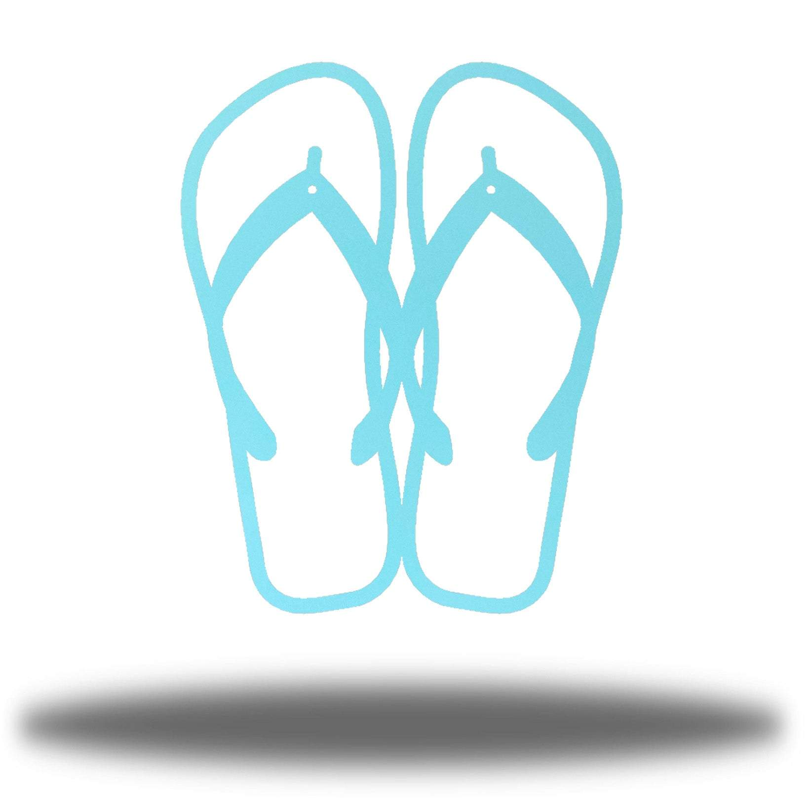 Light blue steel flip flops-shaped wall decor