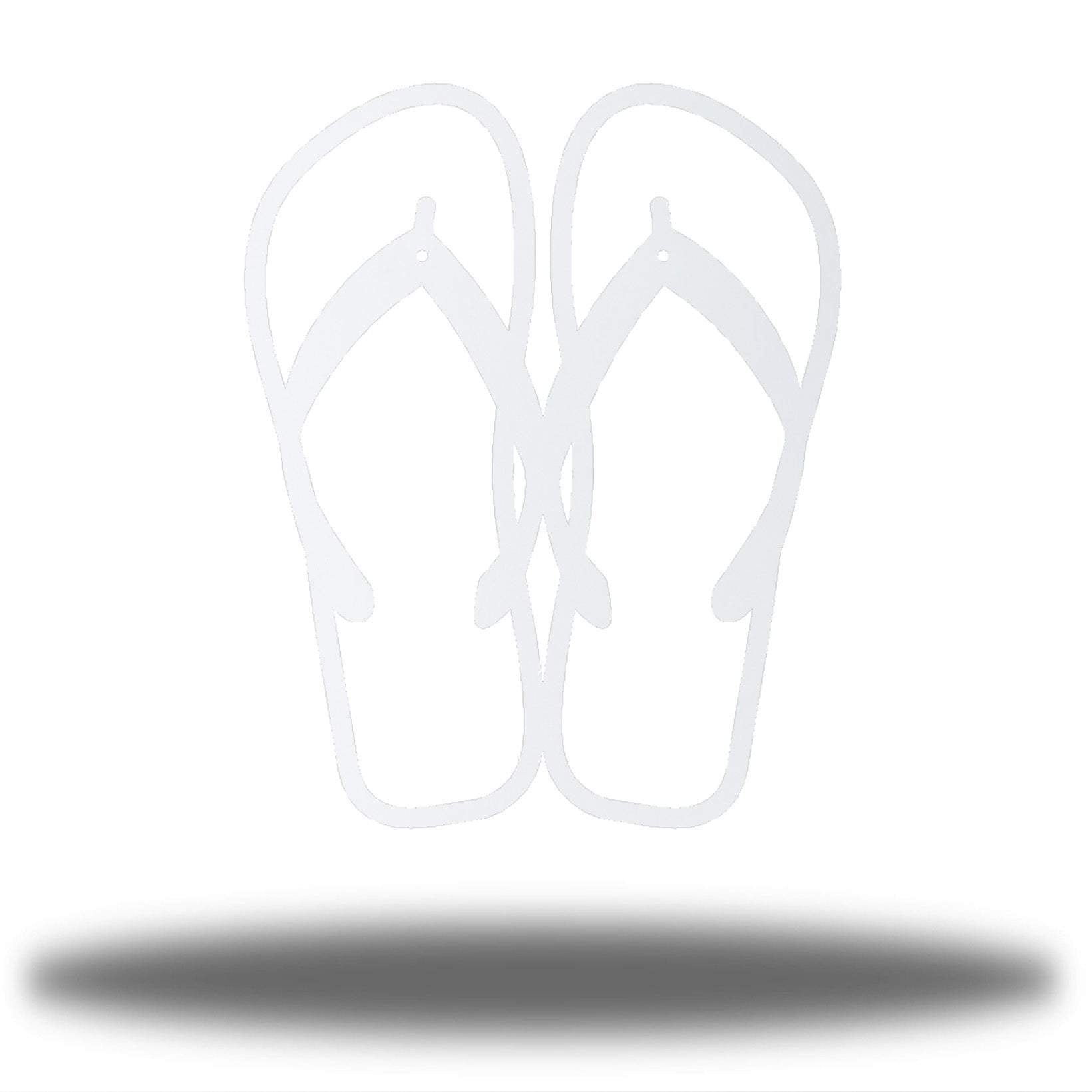 White steel flip flops-shaped wall decor