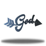 "Black arrow-shaped steel wall decoration that has the text ""God"" on it"