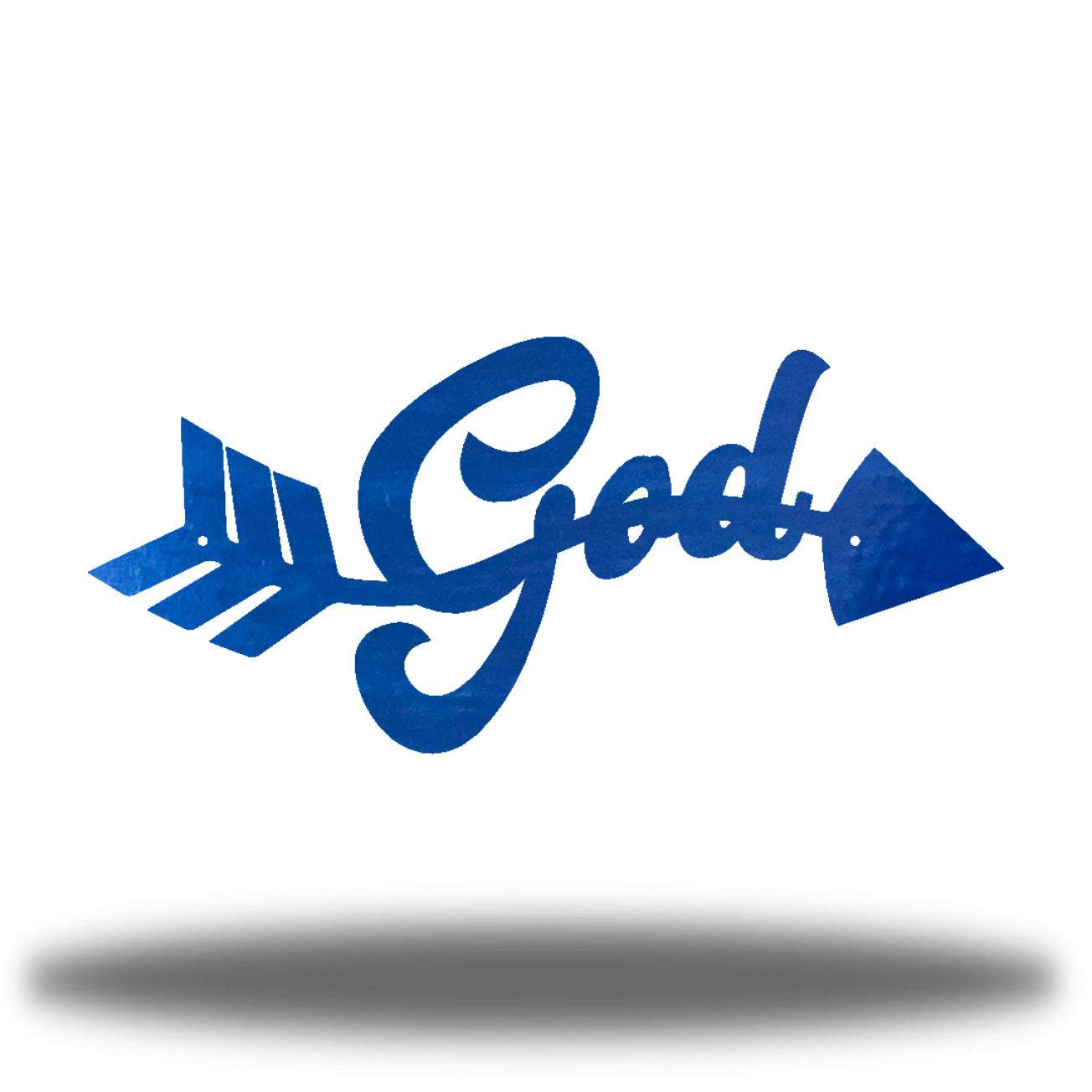 "Blue arrow-shaped steel wall decoration that has the text ""God"" on it"