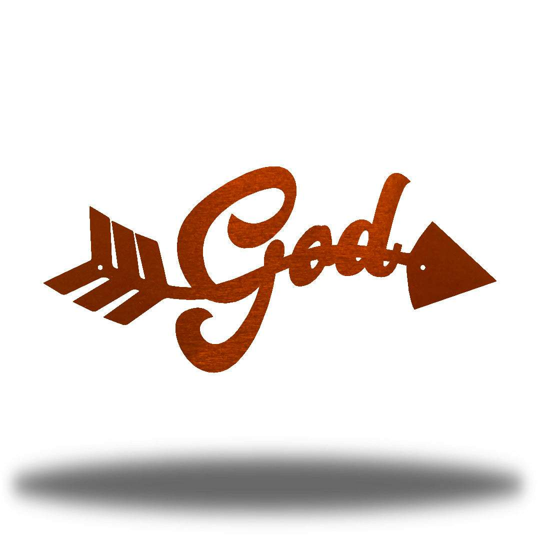 "Copper arrow-shaped steel wall decoration that has the text ""God"" on it"