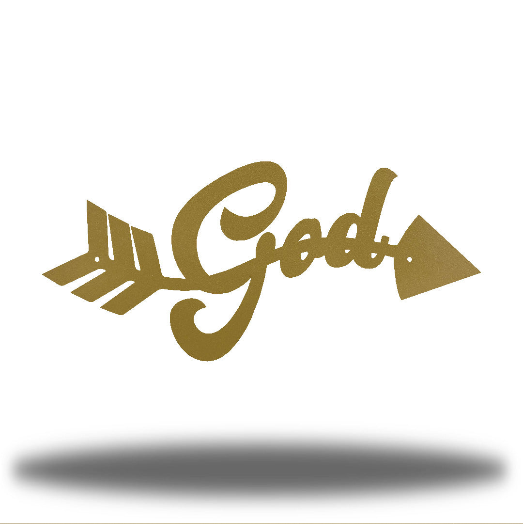 "Gold arrow-shaped steel wall decoration that has the text ""God"" on it"