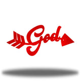 "Red arrow-shaped steel wall decoration that has the text ""God"" on it"