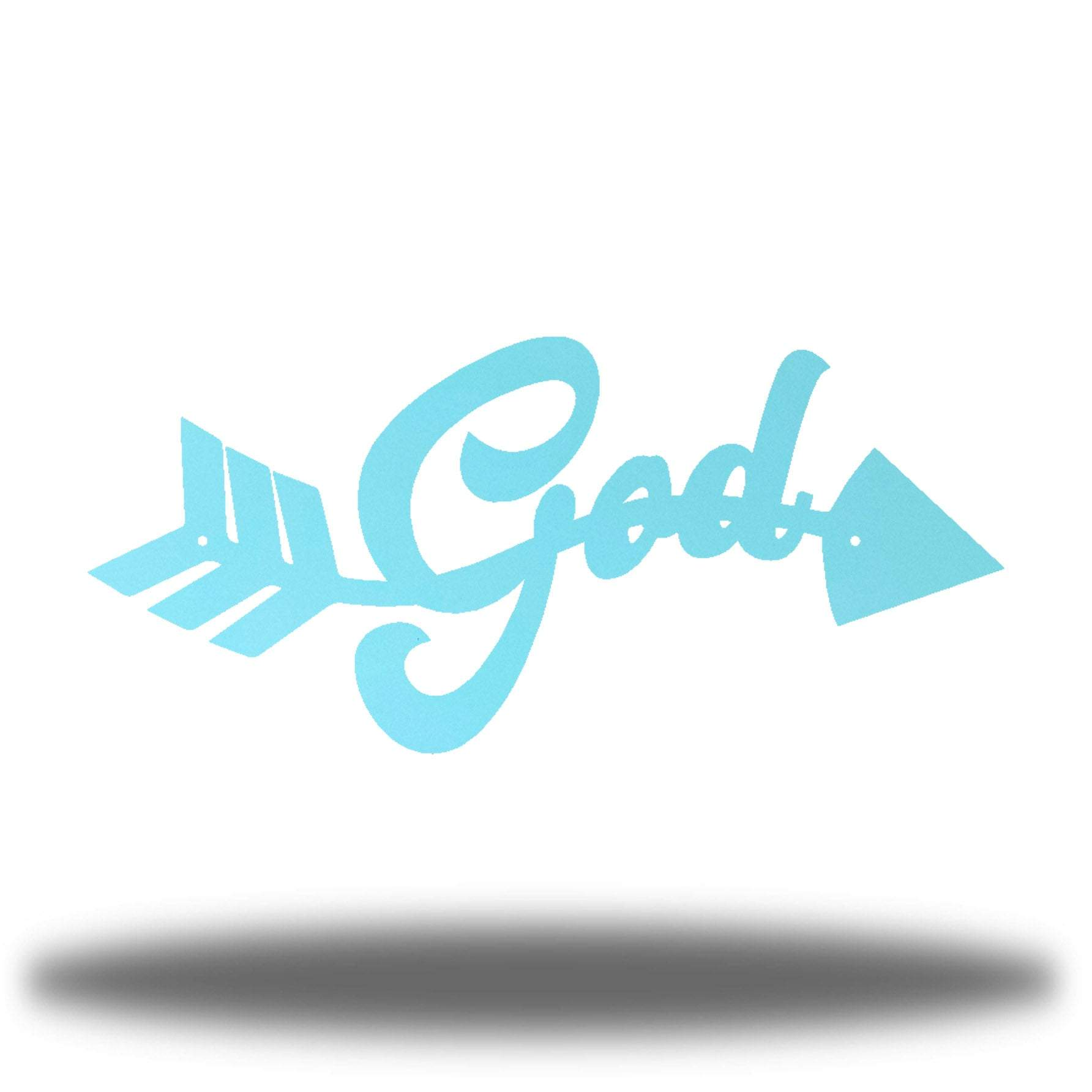 "Light blue arrow-shaped steel wall decoration that has the text ""God"" on it"
