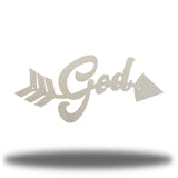 "Silver arrow-shaped steel wall decoration that has the text ""God"" on it"