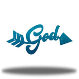"Teal arrow-shaped steel wall decoration that has the text ""God"" on it"