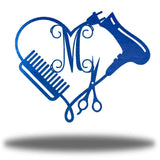 "Blue heart-shaped steel monogram featuring comb, blower, scissors and the initial ""M"""