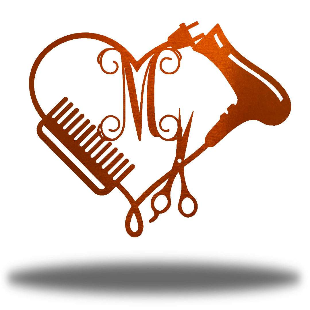 "Copper heart-shaped steel monogram featuring comb, blower, scissors and the initial ""M"""