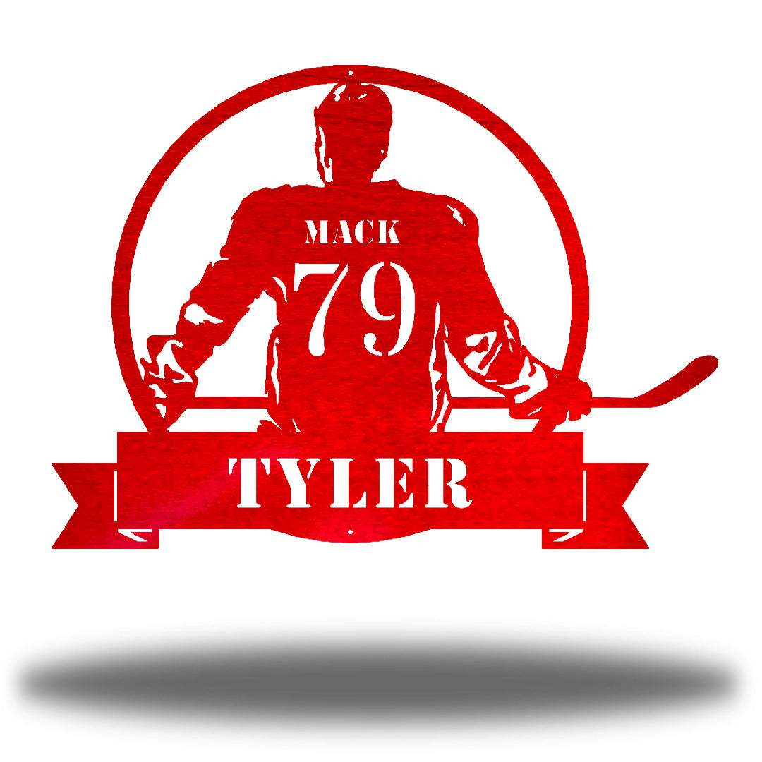 "Red steel wall art decoration featuring a hockey player with the texts ""MACK 79 TYLER"""