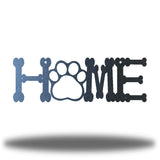 "Black steel decorative sign that spells ""HOME"" where 'O' is a paw"