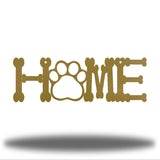 "Gold steel decorative sign that spells ""HOME"" where 'O' is a paw"