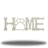"Silver steel decorative sign that spells ""HOME"" where 'O' is a paw"