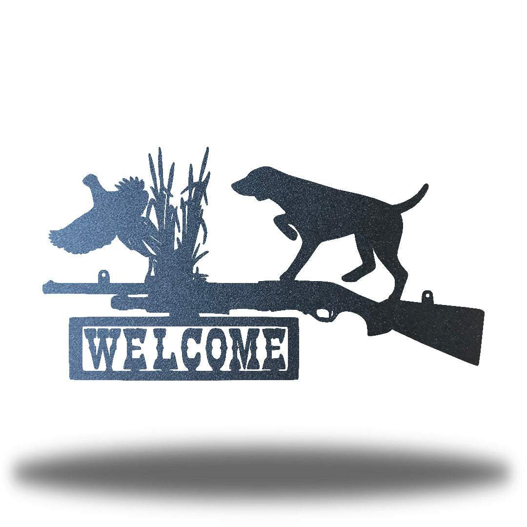"Black steel wall art decoration that features a dog, duck and shotgun with the word ""WELCOME"" on it"