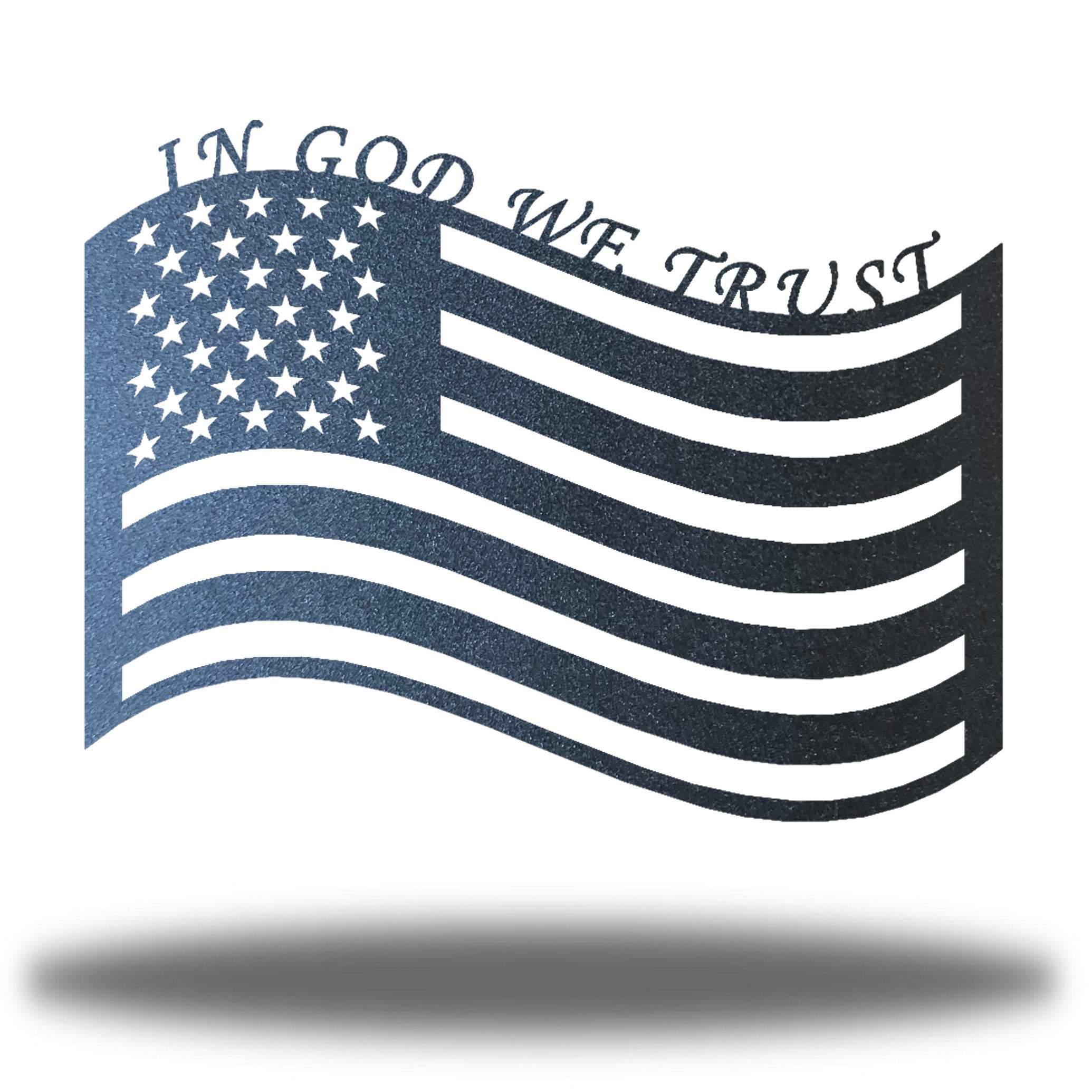 "Black US flag steel wall decoration with the texts ""IN GOD WE TRUST"" above it"