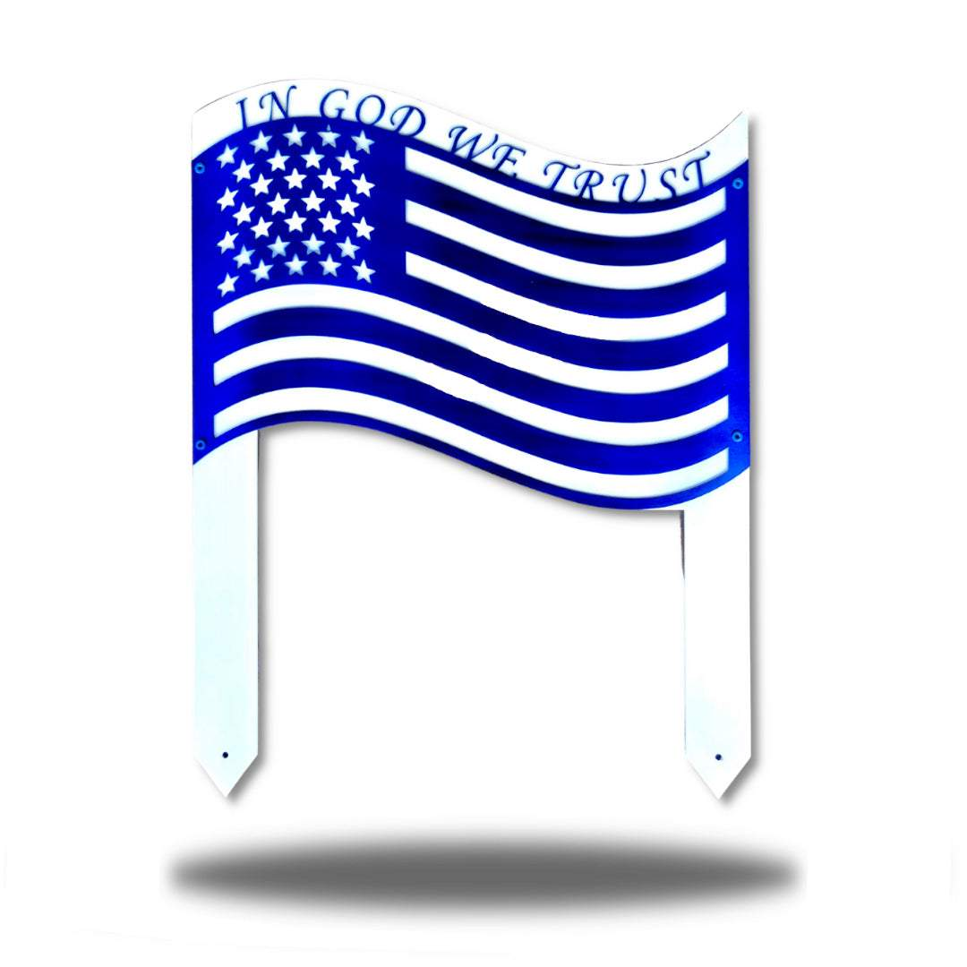 "Blue US flag steel garden stake decoration with the texts ""IN GOD WE TRUST"" above it"