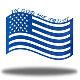 "Blue US flag steel wall decoration with the texts ""IN GOD WE TRUST"" above it"