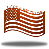 "Copper US flag steel wall decoration with the texts ""IN GOD WE TRUST"" above it"