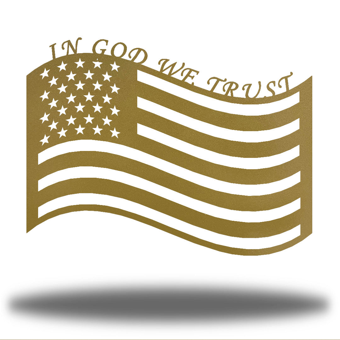 "Gold US flag steel wall decoration with the texts ""IN GOD WE TRUST"" above it"