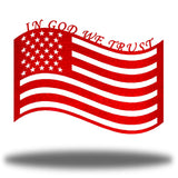 "Red US flag steel wall decoration with the texts ""IN GOD WE TRUST"" above it"