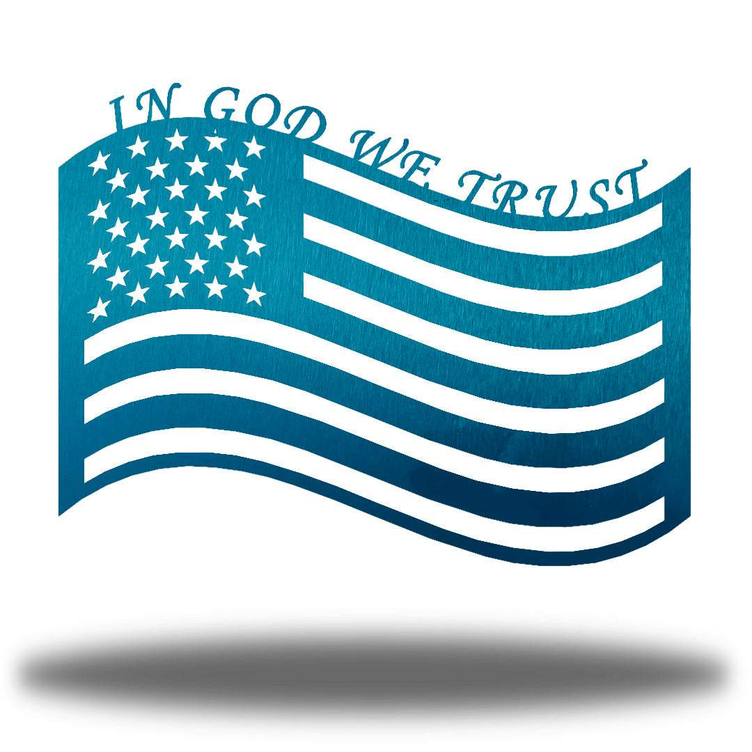 "Teal US flag steel wall decoration with the texts ""IN GOD WE TRUST"" above it"