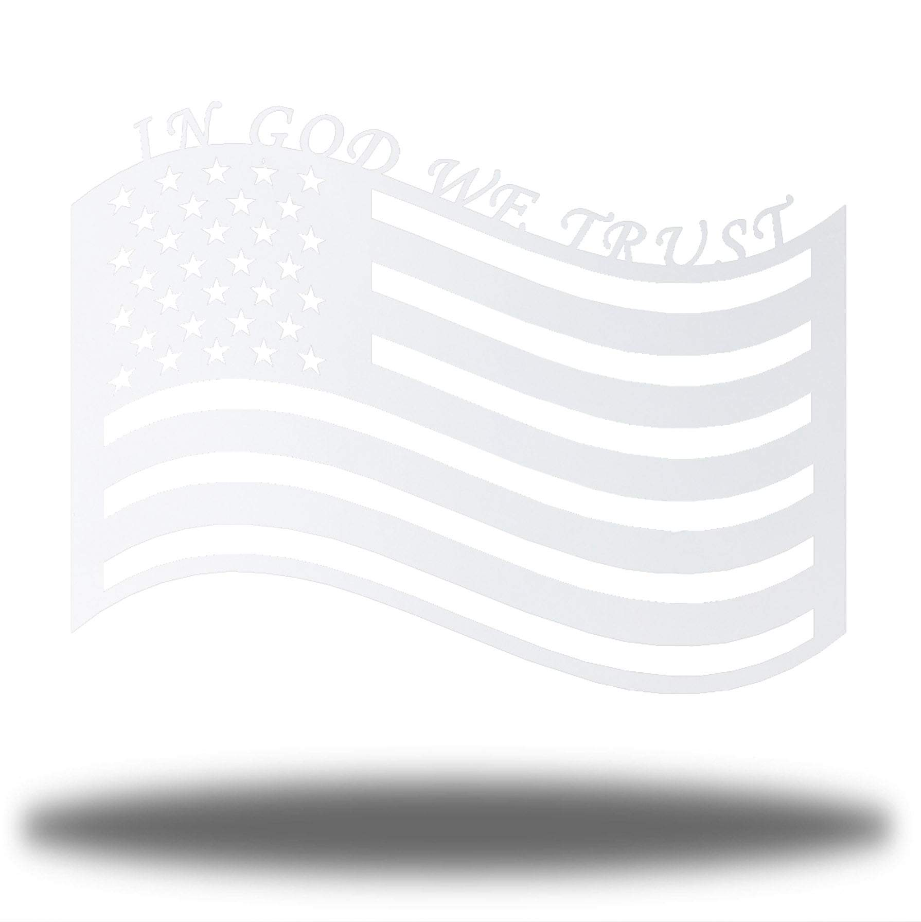 "White US flag steel wall decoration with the texts ""IN GOD WE TRUST"" above it"