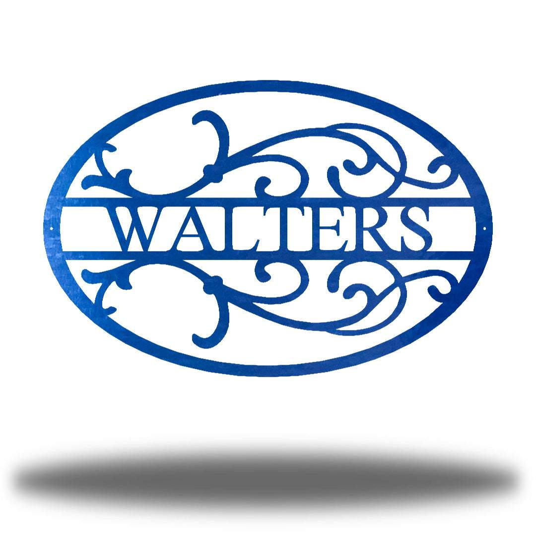 "Blue oval-shaped steel monogram with the name ""WALTERS"" on it"