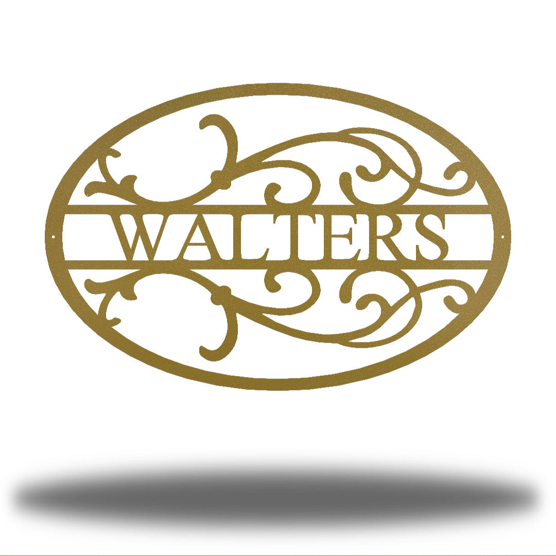 "Gold oval-shaped steel monogram with the name ""WALTERS"" on it"
