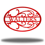 "Red oval-shaped steel monogram with the name ""WALTERS"" on it"