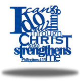 "Blue typographic design wall decoration that says ""I can do all things through Christ who strengthns me PHilippians 4:13"""