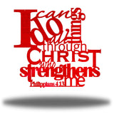 "Red typographic design wall decoration that says ""I can do all things through Christ who strengthns me PHilippians 4:13"""