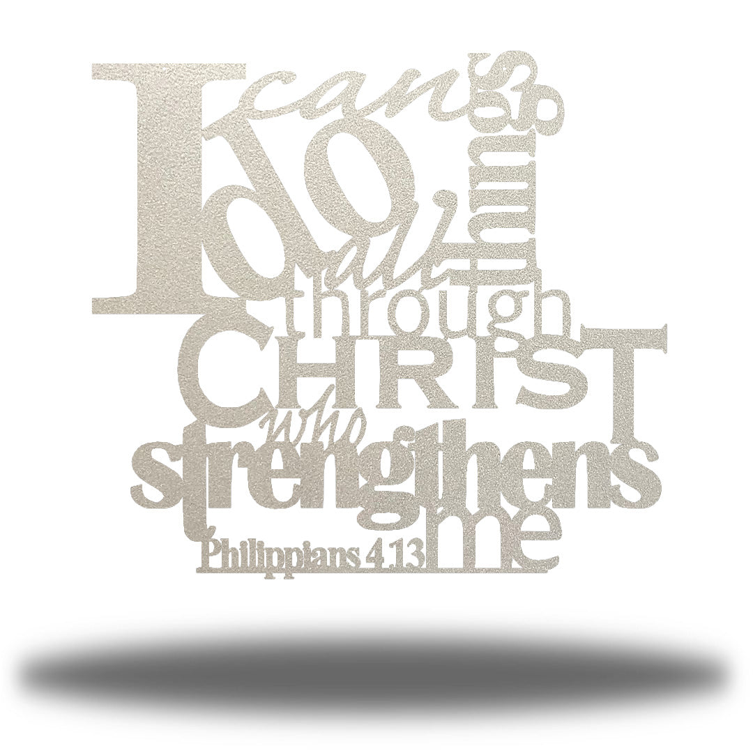 "Silver typographic design wall decoration that says ""I can do all things through Christ who strengthns me PHilippians 4:13"""