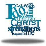 "Teal typographic design wall decoration that says ""I can do all things through Christ who strengthns me PHilippians 4:13"""