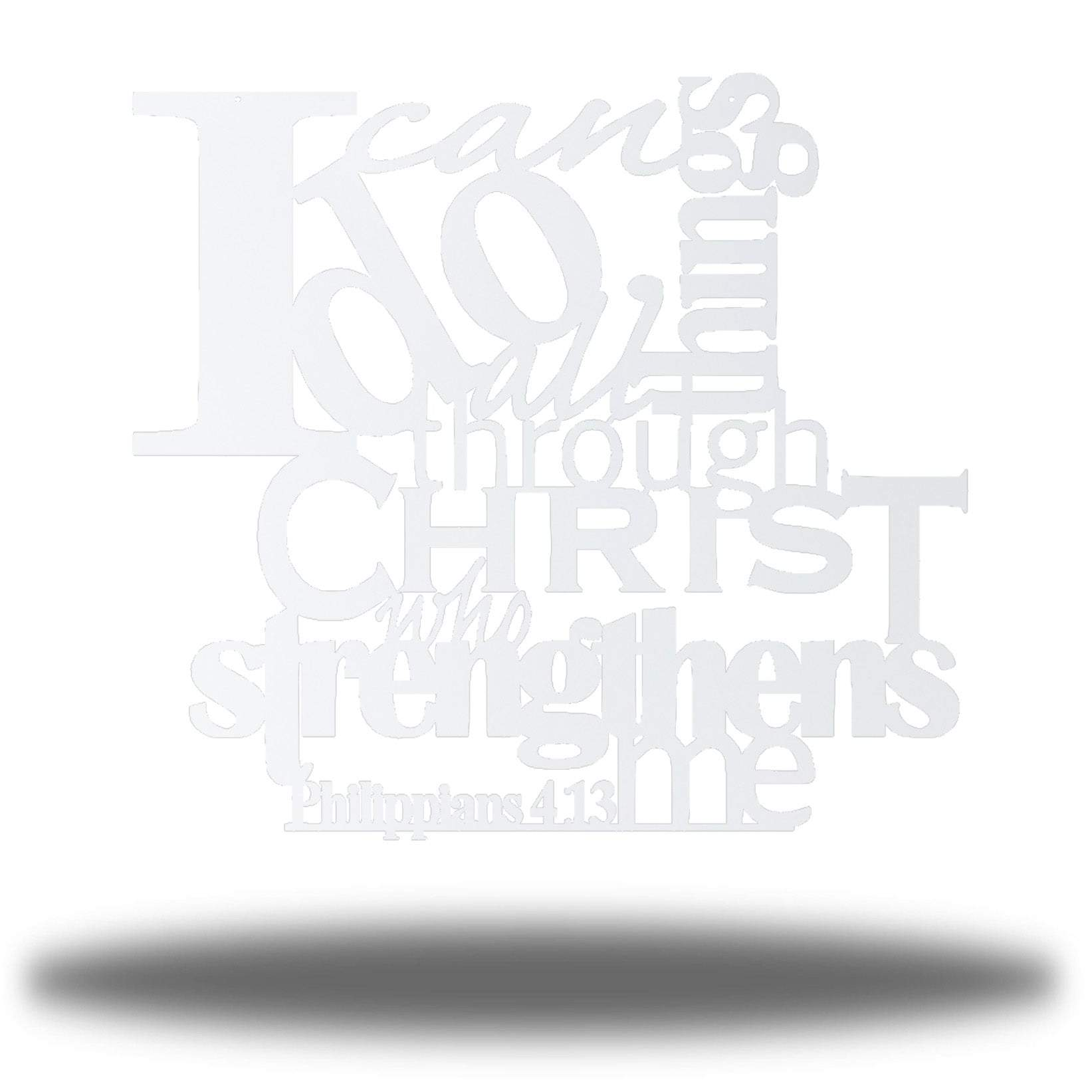 "White typographic design wall decoration that says ""I can do all things through Christ who strengthns me PHilippians 4:13"""
