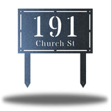 "Black rectangular-shaped steel yard stake address signage with the texts ""191 Church St"""