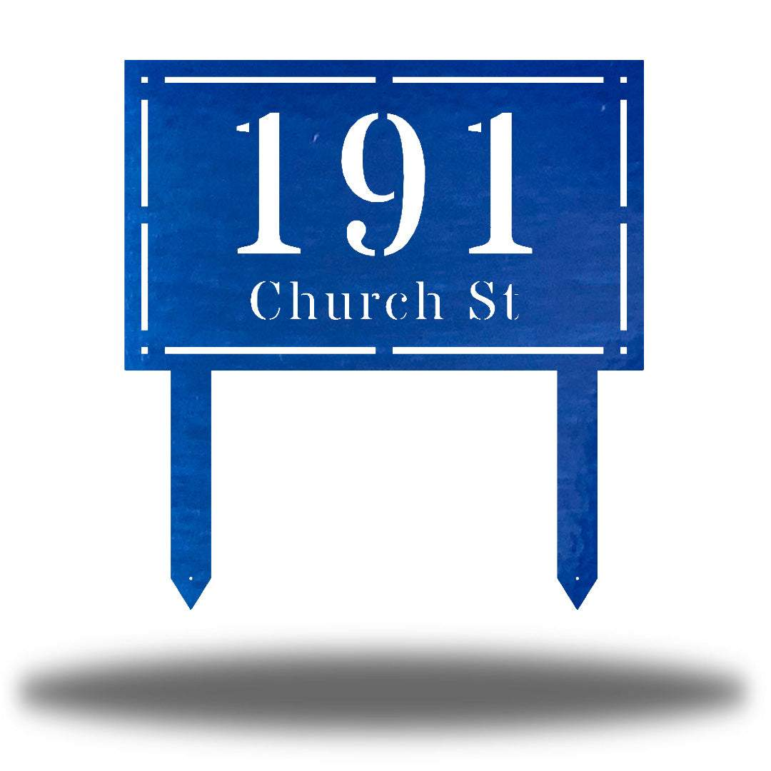 "Blue rectangular-shaped steel yard stake address signage with the texts ""191 Church St"""